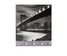 Wenko 50402100 Hakenleiste Manhattan Bridge - 5 Haken, magnetisch, Gehärtetes Glas, 34 x 30 cm, mehrfarbig