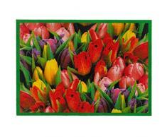 MD-Entree 7201609001 Sauberlaufmatte Tulpen, Abmessungen 66 x 90 cm, Stoff, mehrfarbig, 68 x 38 x 38 cm