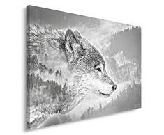 Feeby, Leinwandbild, Bilder, Wand Bild, Wandbilder, Kunstdruck 30x40cm, WOLF, SCHWARZ UND WEIß