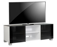 VCM TV Lowboard Schrank Tisch Rack Fernseh Fernsehtisch Konsole Möbel weißlack / schwarzglas 50x150x 45 cm Luxala