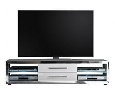 trendteam EG Lowboard TV Unterteil   Hochglanz Weiß   Chromglänzend   156 x 37 cm   Inkl. LED Beleuchtung