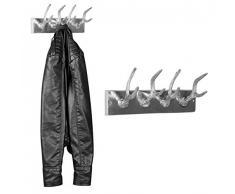Wohnling Wand Garderobe Geweih, 33 cm, Hakenleiste für Kleider und Jacken 4 Haken, Alu Flurgarderobe Wandgarderobe Aluminium Deko