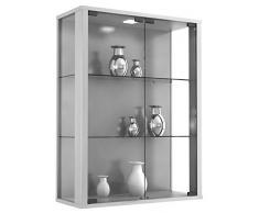VCM Wandvitrine Sammelvitrine Glasvitrine Wand Vitrine Regal Schrank Glas Hängevitrine 80 x 60 x 25 cm Silber Udina