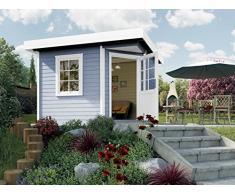Weka Gartenhaus, Designhaus 213 Größe 2, 5-Eck, 28 mm, ET, F, grau, 338x338x237 cm, 213.3030.45000