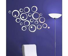 Walplus Spiegel Wall Art Kristall Ringe Kombination Aufkleber Abnehmbare Wandbild Aufkleber Vinyl Home Dekoration DIY Living Schlafzimmer Décor Kids, Silber