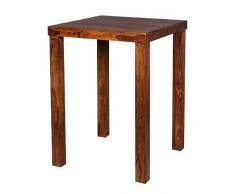 WOHNLING Bartisch Massivholz Sheesham 80 x 80 x 110 cm Bistro-Tisch modern Landhaus-Stil Holz-Steh-Tisch quadratisch dunkel-braun Natur-Produkt Massiv-Holz-Möbel Hausbar Esstisch Echt-Holz unbehandelt