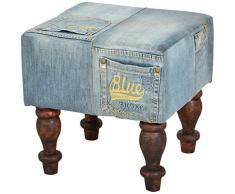 SIT-Möbel 4704-30 Polsterhocker Denim, 40 x 40 x 40 cm, recyceltes Akazienholz massiv, Bezug recycelter Jeansstoff, blau