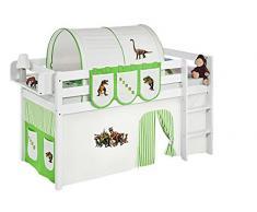 Lilokids Spielbett Jelle Dinos, Hochbett mit Vorhang Kinderbett, Holz, grün / beige, 198 x 98 x 113 cm