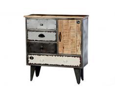 SIT-Möbel 3010-95 Kommode Retro, 74 x 32 x 82 cm, Korpus Metall mit Mangoholz lackiert / schwarz, Fronten bunt