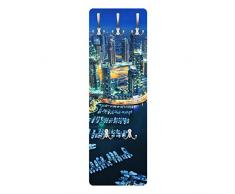 Apalis 79221 Wandgarderobe Nächtliche Dubai Marina   Design Garderobe Garderobenpaneel Kleiderhaken Flurgarderobe Hakenleiste Holz Standgarderobe Hängegarderobe   139x46cm