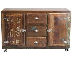 SIT-Möbel 2603-98 Sideboard Fridge, 150 x 40 x 90 cm, Echtes Altholz, mit Kühlschrankgriffen, auf Metallrollen, bunt lackiert