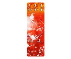 Apalis 79372 Wandgarderobe Red Grunge with Butterflies   Design Garderobe Garderobenpaneel Kleiderhaken Flurgarderobe Hakenleiste Holz Standgarderobe Hängegarderobe   139x46cm
