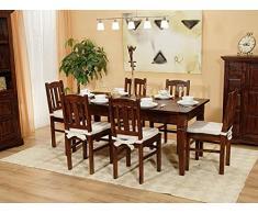 Massivum Catana Tischgruppe, Esstisch mit 6 Holzstuhl, braun, 90 x 150 x 78 cm