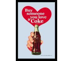 empireposter - Coca Cola - Heart - Größe (cm), ca. 20x30 - Bedruckter Spiegel, NEU - Beschreibung: - Bedruckter Wandspiegel mit schwarzem Kunststoffrahmen in Holzoptik -