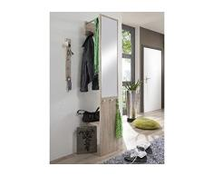 HAKU Möbel 42083 Wandgarderobe 35 x 39 x 190 cm, eiche / chrom