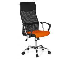 hjh OFFICE 685339 Bürostuhl, Chefsessel Orion Net Netzstoff, orange / schwarz / chrom