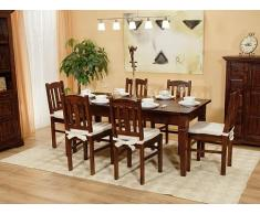 Massivum Catana Tischgruppe, Esstisch mit 4 Holzstuhl, braun, 90 x 150 x 78 cm