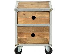 SIT-Möbel 2259-01 Nachttisch Roadies, Mangoholz unbehandelt, naturfarben mit Alu beschlagen auf Gummirollen, 2 Schubladen, 45 x 45 x 60 cm