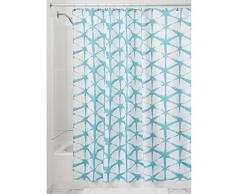 InterDesign Diamond Batik Duschvorhang | kunstvoller Vorhang für Badewanne und Dusche in 183,0 cm x 183,0 cm | Duschvorhang aus Stoff mit Batik-Muster | Polyester türkis