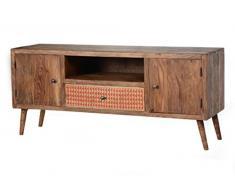 SIT-Möbel Scandi 4321-01 Lowboard, 2 Türen & 1 bemalte Schublade, aus Sheesham-Holz, natur, 135 x 60 x 40 cm