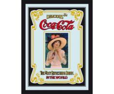 empireposter - Coca Cola - Old ADV - Größe (cm), ca. 30x40 - Maxi-Spiegel, NEU - Beschreibung: - Bedruckter Wandspiegel mit schwarzem Kunststoffrahmen in Holzoptik -