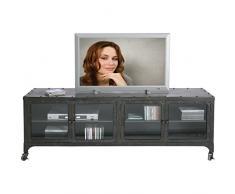 Kare TV Lowboard Factory Metall, 74525, Sideboard im Industrie-Vintage-Look mit Rollen, grau (H/B/T) 56x160x40cm