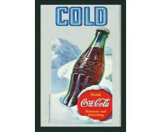 empireposter - Coca Cola - Kalt - Größe (cm), ca. 20x30 - Bedruckter Spiegel, NEU - Beschreibung: - Bedruckter Wandspiegel mit schwarzem Kunststoffrahmen in Holzoptik -