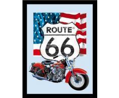 empireposter - Route 66 - Icons - Größe (cm), ca. 30x40 - Maxi-Spiegel, NEU - Beschreibung: - Bedruckter Wandspiegel mit schwarzem Kunststoffrahmen in Holzoptik -