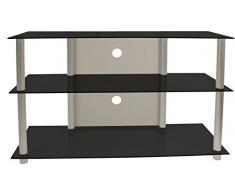 VCM TV Rack Lowboard Konsole LCD LED Fernsehtisch Möbel Bank Glastisch Tisch Schrank Aluminium Schwarzglas Olopa XXL