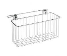 InterDesign 38297EU Aufbewahrungskorb für freistehendes Waschbecken mit Handtuchstange - Metall 30,48 x 12,70 x 16,51 cm, Chrom