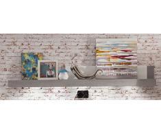 trendteam PE48335 Wandboard weiss Hochglanz, Absetzungen Beton Industry, BxHxT 210x30x22 cm