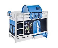 Lilokids Etagenbett Jelle TÜV und GS geprüft Star Wars the Clone Wars, Hochbett mit Vorhang und Lattenroste Kinderbett, Holz, weiß, 208 x 98 x 150 cm