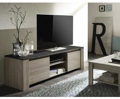 LC spa 200503M-01 TV Schrank Elba gross mit 2 Türen, 180 x 55 x 51 cm, in Eiche/Obenplatte Marmor, grau