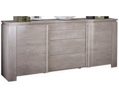 demeyere 230347 Sideboard 2 Türig und 3 Schubladen, Melamin, champagne eiche, 205 x 42 x 87 cm