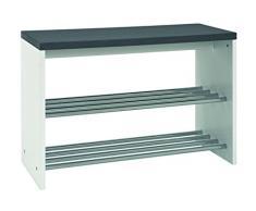 HAKU Möbel 95531 Bank MDF, Stahl, granitoptik / chrom, 30 x 81 x 55 cm