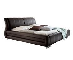 sette notti Polsterbett Bett Doppelbett XXL Schwarz, Liegefläche 160 x 200 cm, Kunstleder Bett Schwarz, Art. Bolzano 1093-10-4000