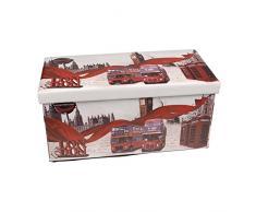Hochwertige Sitzbank Sitzhocker London Sitzwürfel Aufbewahrungsbox 76,5 x 38 x 38cm inkl. 1 Rolle 16l Abfallbeutel