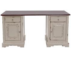 SIT-Möbel 9707-97 Schreibtisch Spa, Akazie massiv, Farbe taupe, 2 Holztüren, 2 Schubladen, 150 x 68 x 75 cm