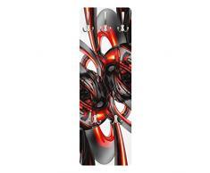 Apalis 79489 Wandgarderobe Shining Red Circles | Design Garderobe Garderobenpaneel Kleiderhaken Flurgarderobe Hakenleiste Holz Standgarderobe Hängegarderobe | 139x46cm