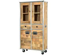 SIT-Möbel 2204-01 Vitrine Roadies, Mangoholz unbehandelt, naturfarben mit Alu beschlagen auf Gummirollen, 2 Glastüren, 2 Holztüren, 2 Schubladen, 1 Einlegeboden hinter den Glastüren, 90 x 40 x 180 cm