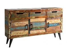 Sit Möbel Miami 5203-98 Sideboard mit je 3 Türen & Schubladen, recyceltes Altholz, bunt lackiert, 140 x 34 x 82 cm