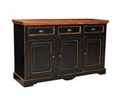 SIT-Möbel 5803-11 Sideboard Corsica, 150 x 40 x 90 cm, Mango / MDF, schwarz mit honigfarbiger Deckplatte