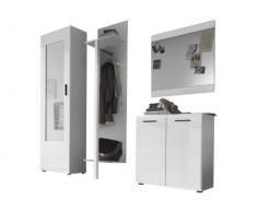 trendteam SN91101 Garderoben Set Garderobe 4-teilig weiss Hochglanz, BxHxT 196x201x38 cm
