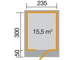Weka Gartenhaus, Designhaus 172 Größe 2, 28 mm, ET, grau, 275x375x226 cm, 172.2430.45000