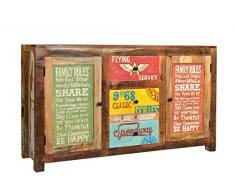 SIT-Möbel 5703-98 Sideboard Speedway, 150 x 38 x 85 cm, recyceltes Altholz, bunt lackiert