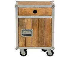 SIT-Möbel 2207-01 Kommode Roadies, Mangoholz unbehandelt, naturfarben mit Alu beschlagen, 1 Tür 1 Schublade auf Rollen, 50 x 35 x 72 cm