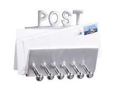 WOHNLING Wandgarderobe POST Garderobenhaken mit Brief-Ablage und Schlüsselbrett 20 cm Aluminium Garderoben-Paneel 6 Haken Design Schlüsselboard Deko Flur-Möbel Garderobenleiste Briefhalter für Diele