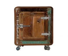 SIT-Möbel 2659-98 Nachttisch Fridge, 50 x 38 x 56 cm, Echtes Altholz, mit Kühlschrankgriffen auf Metallrollen, bunt lackiert