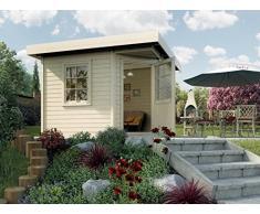 Weka Gartenhaus, Designhaus 213 Größe 2, 5-Eck, 28 mm, ET, F, natur, 338x338x237 cm, 213.3030.40000