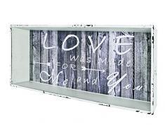 HAKU Möbel 27927 Wandregal, 12 x 76 x 30 cm, weiß gewischt / vintage